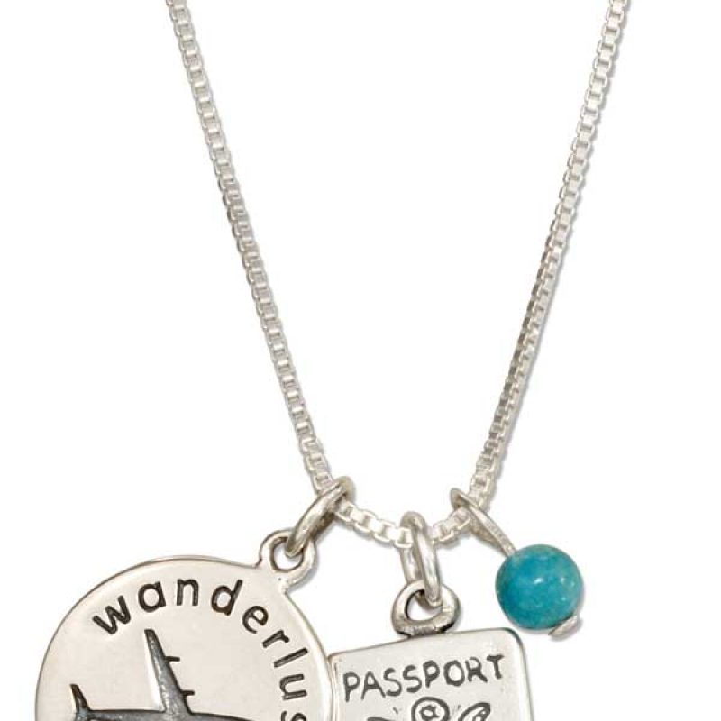 VN610 Pendant Necklace With Passport, Charm And Blue Bead
