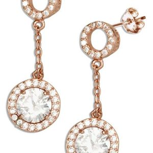 MM377 Circle Post Drop Earrings With Round Dangle