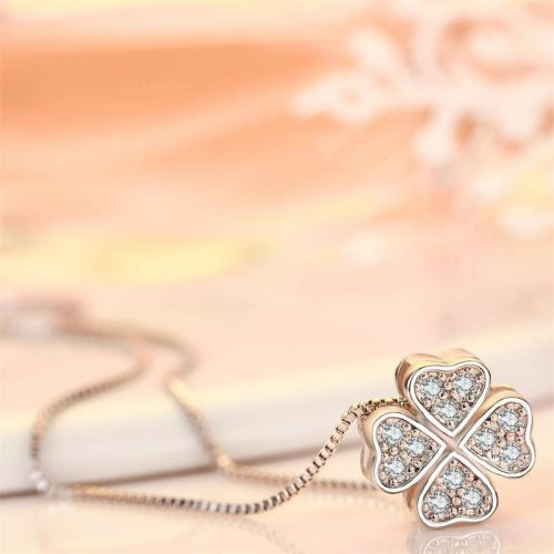 CRN812 Cubic Zirconia Studded Handmade Clover Necklace *Made to order* *Exclusive*