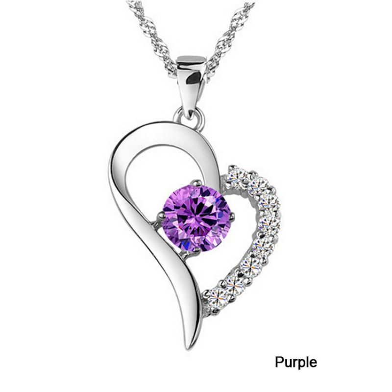 CRN709  Rhine Stone Heart Shaped Pendant Necklace
