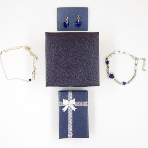 NJNY Blue Crystal 4 Piece Jewelry Set W/ Watch