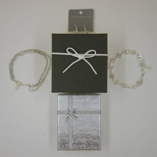 NJNY Silver Crystal 4 Piece Jewelry Set W/ Watch